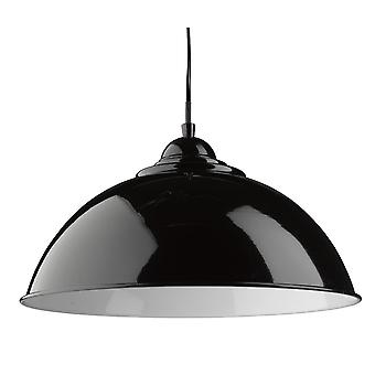 Sanford Single Pendant With Black Metal Shade - Searchlight 8140BK