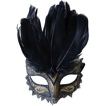 Carnivale Eye Mask nero oro per Masquerade