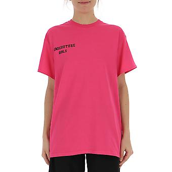 Semi-couture Cecilia Fuchsia Cotton T-shirt