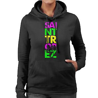 Saint Tropez Retro färg Text Women's Hooded Sweatshirt