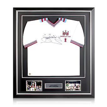 Sir Trevor Brooking Signed West Ham United 1980 FA Cup Shirt In Deluxe Black Frame With Silver Inlay