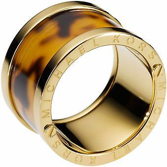Michael Kors Damen Gold-Ton Stahl Schildkröte Barrel Ring - Mkj1610710