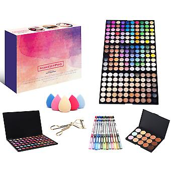 MakeUpPro - A 291 Pieced Complete Beauty Kit Featuring a 180 Color Make-up Eye Shadow Shimmer Palette 66 Color Lip Gloss Palette 12 Glitter Eye and Lip Liner Pens 12 Piece Makeup Brush Set 15 Color High Quality Concealers 5 Makeup Sponges + an Eyelash Curler.