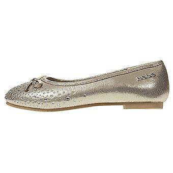 Girls Ballet Flats Round Toe Microsuede Perforated Laser Cut