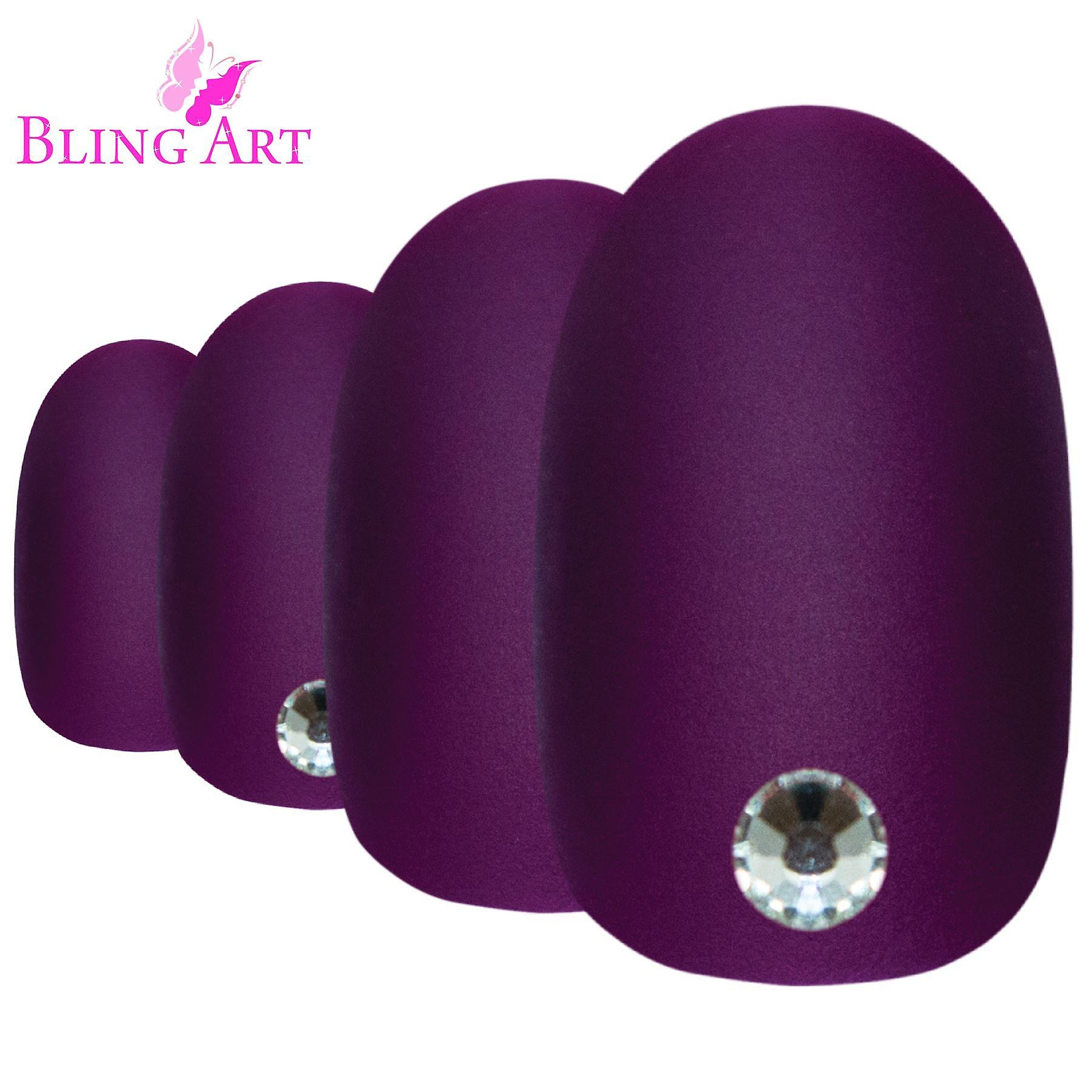 False nails by bling art purple matte oval medium fake acrylic 24 tips with glue
