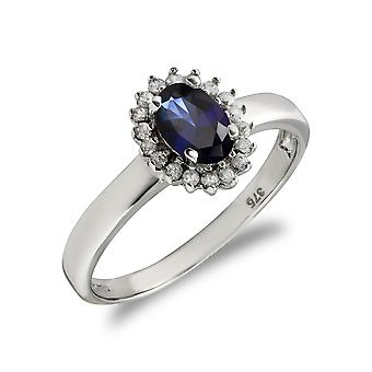 Jewelco London Ladies Solid 9ct White Gold Blue Oval Cubic Zirconia Royal Princess Style Oval Cluster Ring