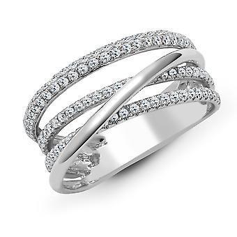 Jewelco London Solid 18ct White Gold Pave Set Round G SI1 0.68ct Diamond Crossover Eternity Ring 8mm