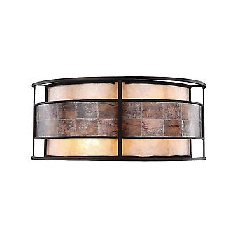 Tremont 2-light sconce in tiffany bronze with brown mosaic and tan mica shade elk lighting