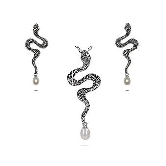 Adornment woman pendant and earrings in Silver 925/1000 snake and pearls of water d