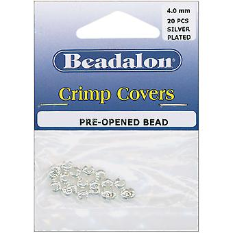 Crimp Covers 4Mm 20 Pkg Silver Plated 349B 010