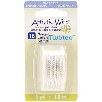 Artistic Wire Twisted Round Non Tarnish Silver 18 Gauge 2Yd Awd18ts1