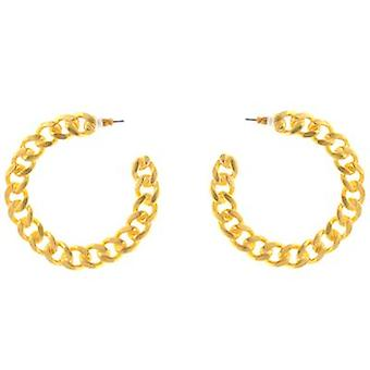Kenneth Jay Lane Satin Gold Plated Link Hoop Earrings