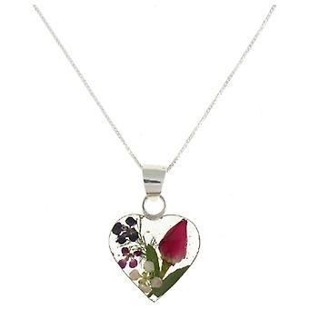 Shrieking Violet Sterling Silver Mixed Flowers Love Heart Pendant