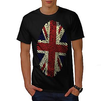 British Fingerprint Men Black T-shirt | Wellcoda