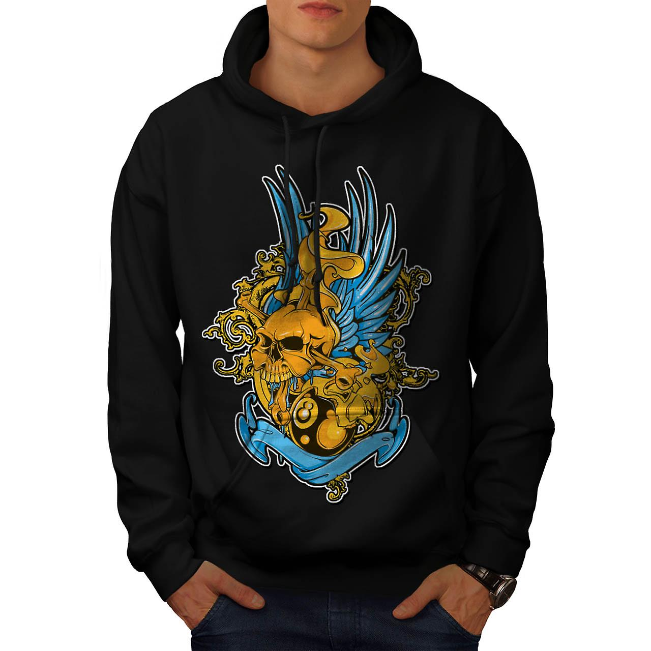 Monster Skull Pool Ball Fear Pot Men Black Hoodie | Wellcoda