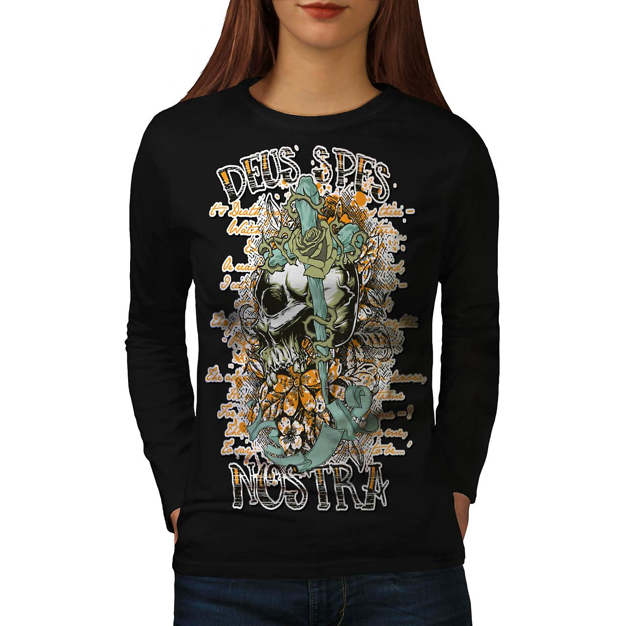 Latin Quote Rose Skull Women Black Long Sleeve T-shirt | Wellcoda