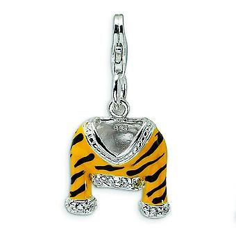 Sterling Silver CZ lucidata smalto Tiger Jacket con astice Clasp fascino - misure 29x15mm