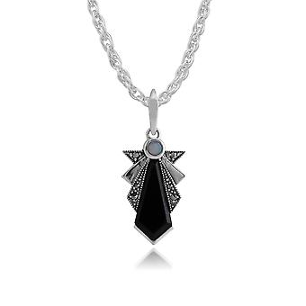 Sterling Silver Art Deco Black Onyx, Opal & Marcasite Pendant on 45cm Chain