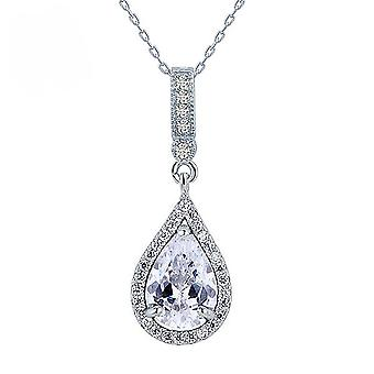 925 Sterling Silver 3 Carat Oval Cut Simulated Diamond Pendant