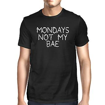 Mens' Funny White Graphic Bold Statement T-Shirt - Monday Is Not My Bae