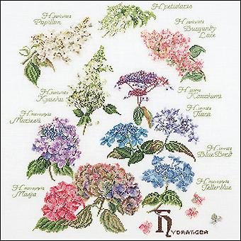 Hydrangea Panel On Aida Counted Cross Stitch Kit-17.25