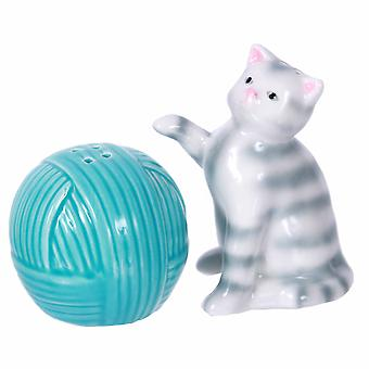 Gray Striped Kitty Cat Playing with Ball of Yarn Salt and Pepper Shakers Set