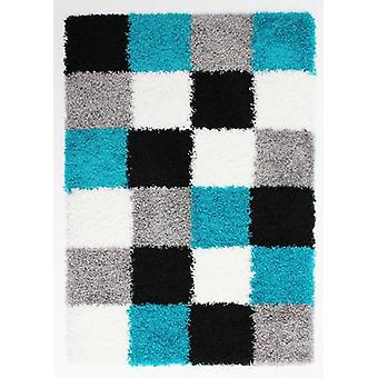 Blue  Grey Squares Shaggy Rug Petersberg