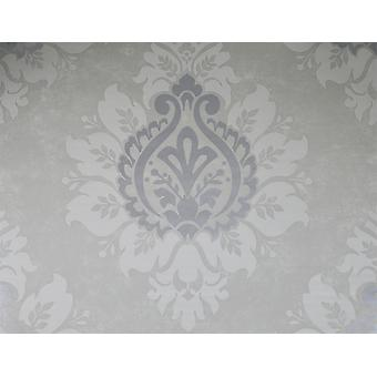 Damask Wallpaper Traditional Modern Metallic Shiny Silver Cloudy Grey