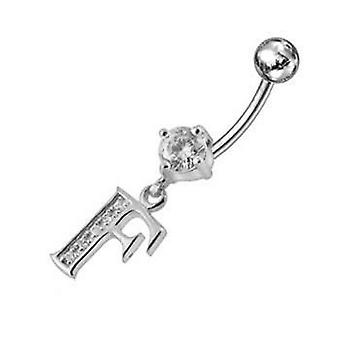 Belly Bar Navel Piercing 925 Sterling Silver, Body Jewellery, Letter Initial | F