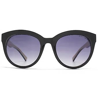 Kurt Geiger Round With Circular Trim Sunglasses In Black On Nude