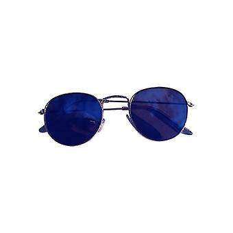 Cool urbanos com óculos de sol prata de vidro azul espelho