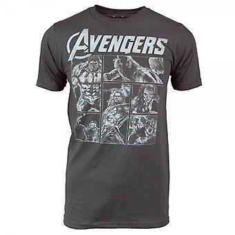 Marvel Comics Mens Avengers Sketch Panels T-Shirt Charcoal