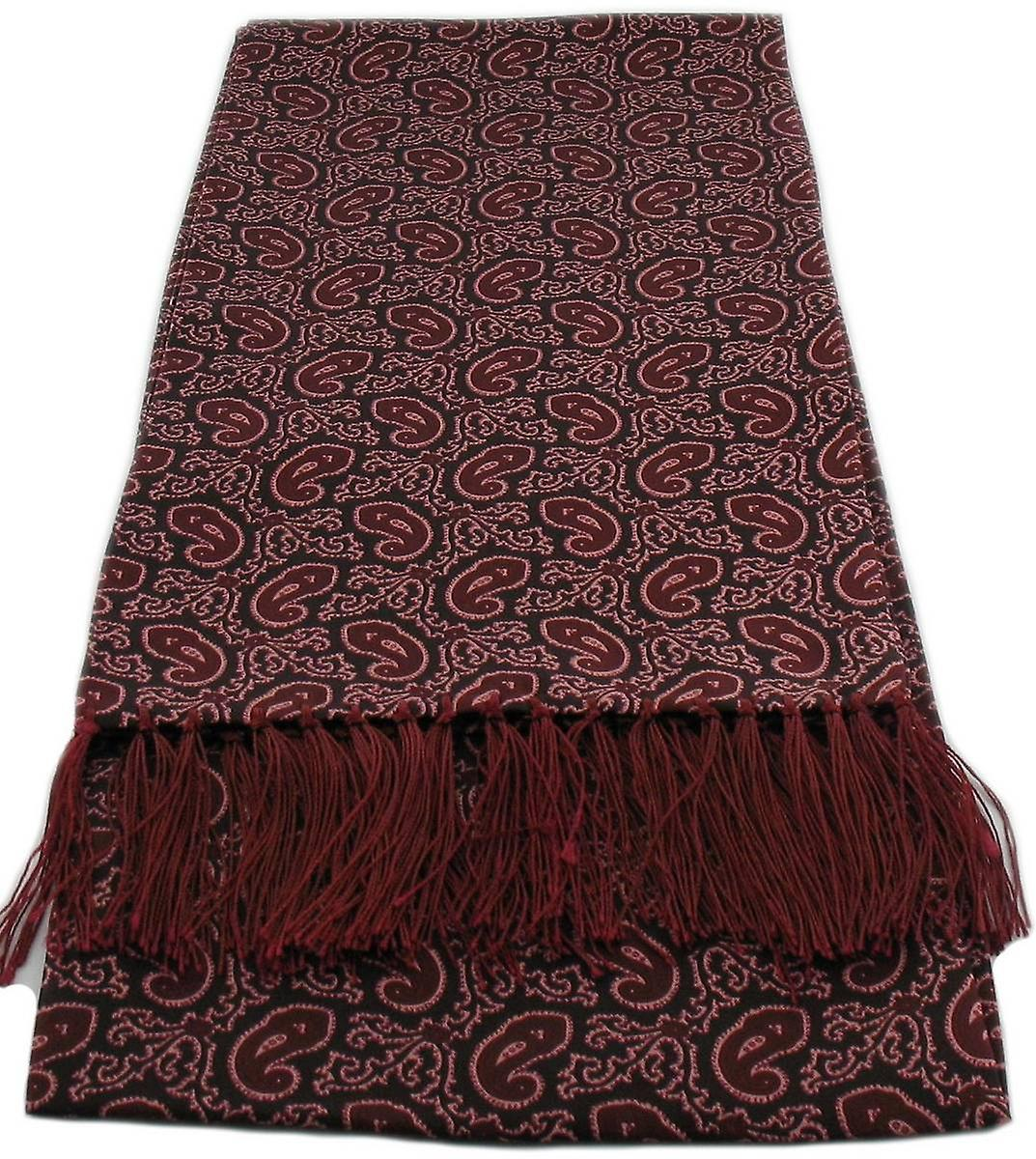 Michelsons of London Small Paisley Silk Scarf - Burgundy