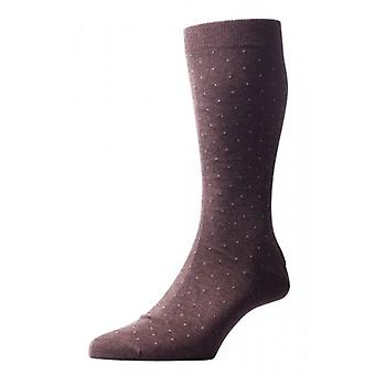 Pantherella Gadsbury Motif Pindot Cotton Lisle Socks - Dark Brown