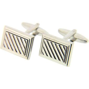 David Van Hagen Rectangular Grill Cufflinks - Silver