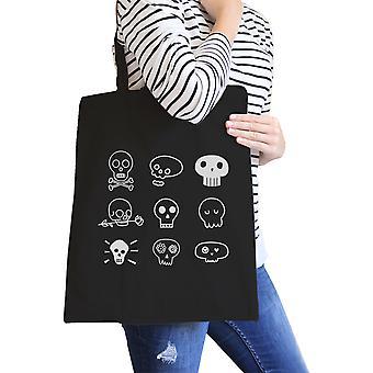 Cráneos lienzo bolsa plegable bolsa escuela reutilizables de algodón pesado y algodón negro