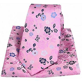 Posh and Dandy Flowers Luxury Tie and Pocket Square Set - Pink