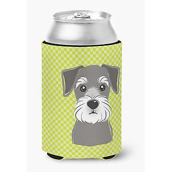 Checkerboard Lime Green Schnauzer Can or Bottle Hugger