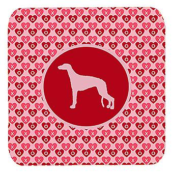 Carolines Treasures  SDK1037-A-FC Set of 4 Greyhound Valentine Hearts Foam Coast