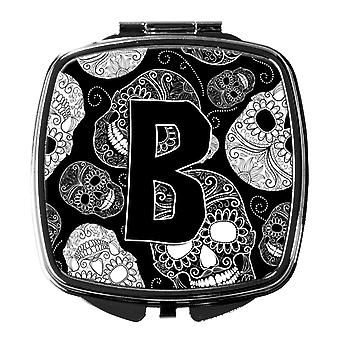 Letter B Day of the Dead Skulls Black Compact Mirror