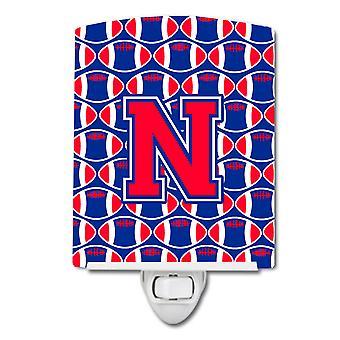 Letter N Football Harvard Crimson and Yale Blue Ceramic Night Light