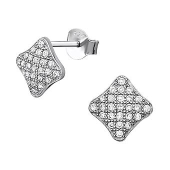 Square - 925 Sterling Silver Cubic Zirconia Ear Studs