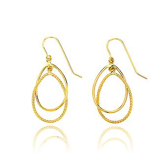 14k Yellow Gold Diamond Cut and High Polished Double Tear Drop Earring with Fish Hook