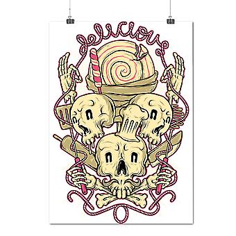 Matte or Glossy Poster with Sweets Bakery Happy Skull | Wellcoda | *d2077