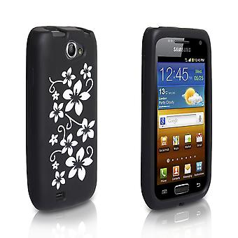 Yousave Accessories Samsung Galaxy W I8150 Black And White Floral Gel Case