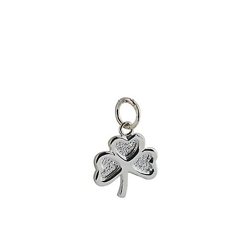 Silver 13x13mm plain Shamrock Pendant or Charm