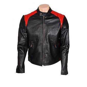Motorcycle Mens Biker Leather Jacket With Red Stripes