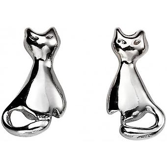 Beginnings Cat Stud Earrings - Silver