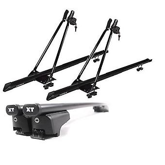 Roof Bars & 2 Bike Carriers for Audi A6 Avant from 2011 with Solid Closed Rails