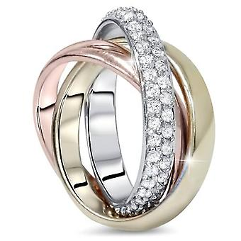 1ct Pave rollen Ring 14K wit geel & Rose goud